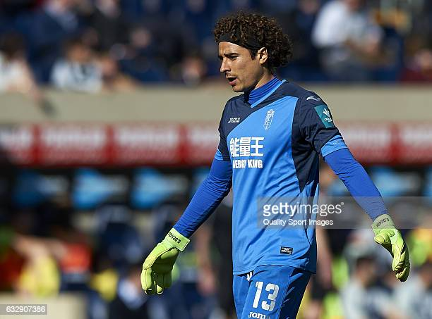 Guillermo Ochoa of Granada reacts during the La Liga match between Villarreal CF and Granada CF at Estadio de la Ceramica on January 28 2017 in...