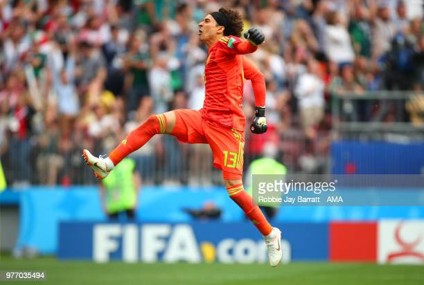 Guillermo Ochoa of Mexico celebrates after Hirving Lozano scored a goal to make it 01 during the 2018 FIFA World Cup Russia group F match between...