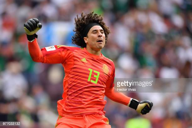 Guillermo Ochoa of Mexico celebrates after his team mate Hirving Lozano scores the first goal during the 2018 FIFA World Cup Russia group F match...