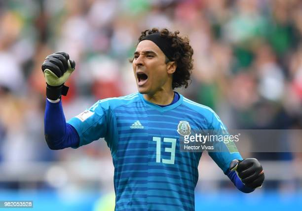 Guillermo Ochoa of Mexico celebrates his team's first goal during the 2018 FIFA World Cup Russia group F match between Korea Republic and Mexico at...