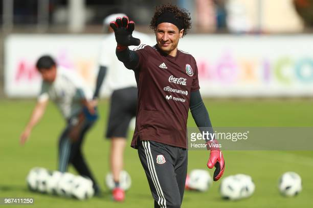 Guillermo Ochoa of Mexico gestures during a training session ahead of FIFA Russia 2018 World Cup at Centro de Alto Rendimiento on June 1 2018 in...