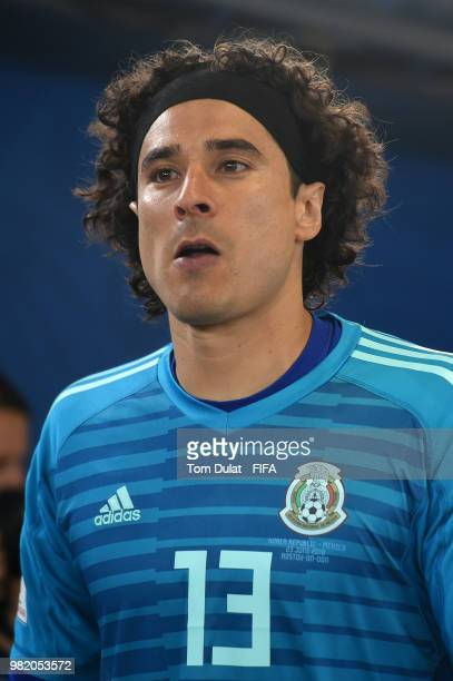 Guillermo Ochoa of Mexico looks on during the 2018 FIFA World Cup Russia group F match between Korea Republic and Mexico at Rostov Arena on June 23...