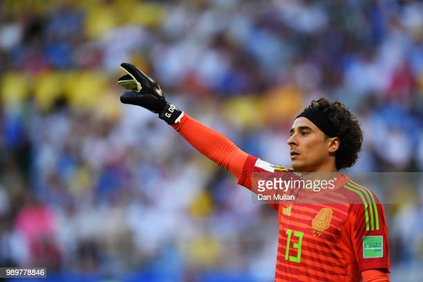 Guillermo Ochoa of Mexico looks on during the 2018 FIFA World Cup Russia Round of 16 match between Brazil and Mexico at Samara Arena on July 2 2018...