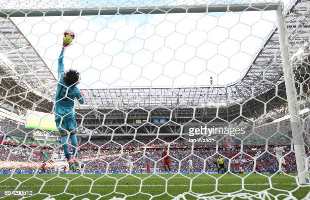 Guillermo Ochoa of Mexico makes a save during the FIFA Confederations Cup Russia 2017 Group A match between Portugal and Mexico at Kazan Arena on...