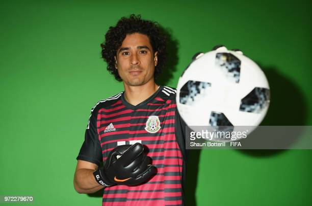 Guillermo Ochoa of Mexico poses for a portrait during the official FIFA World Cup 2018 portrait session at the team hotel on June 12 2018 in Moscow...