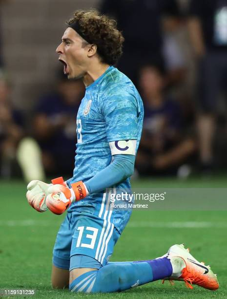 Guillermo Ochoa of Mexico reacts after making the final save to win 54 on penalties against Costa Rica during the quarterfinals of the 2019 CONCACAF...