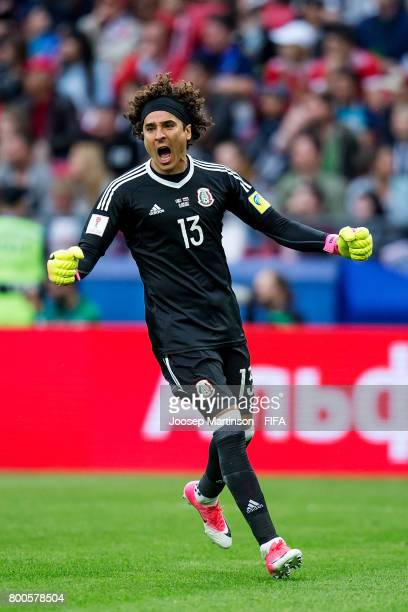 Guillermo Ochoa of Mexico reacts during the FIFA Confederations Cup Russia 2017 group A football match between Mexico and Russia at Kazan Arena on...