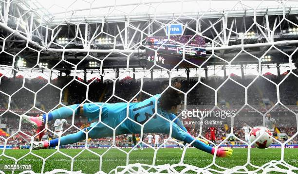 Guillermo Ochoa of Mexico saves Pizzi of Portugal penalty during the FIFA Confederations Cup Russia 2017 PlayOff for Third Place between Portugal and...