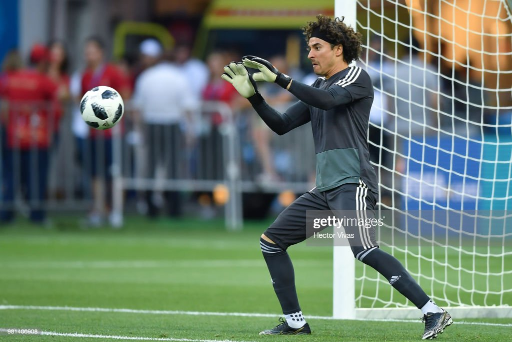 Guillermo Ochoa of Mexico stops the ball during a training session ahead of the match against Korea as part of FIFA World Cup Russia 2018 at Rostov Arena on June 22, 2018 in Rostov, Russia.