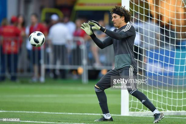 Guillermo Ochoa of Mexico stops the ball during a training session ahead of the match against Korea as part of FIFA World Cup Russia 2018 at Rostov...