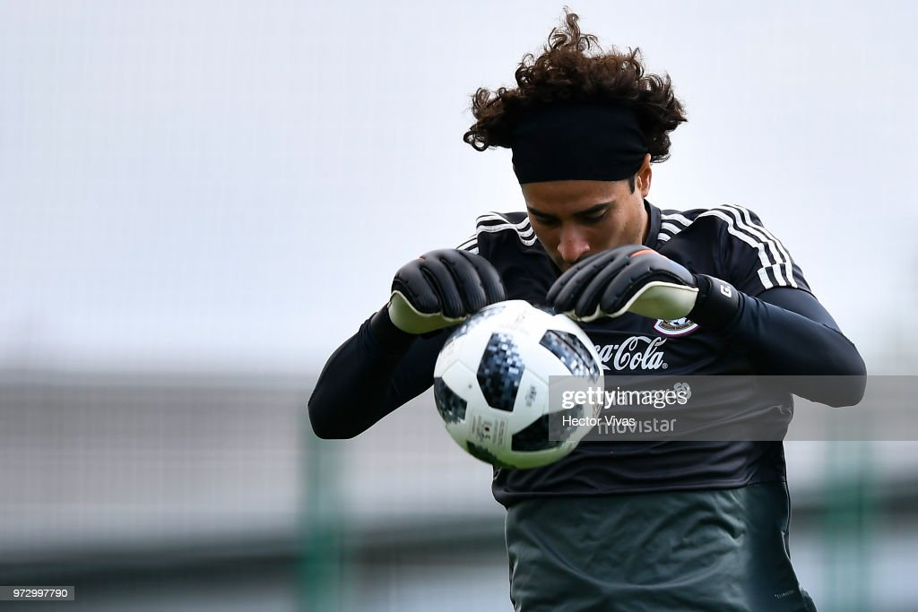 Guillermo Ochoa of Mexico, throws the ball during a training session at team training base Novogorsk-Dynamo on June 13, 2018 in Moscow, Russia.