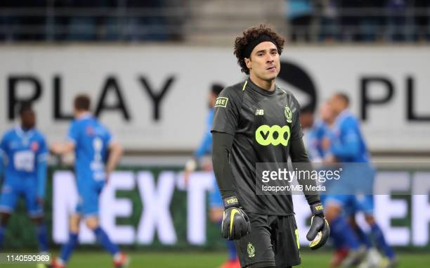 Guillermo Ochoa of Standard looks dejected during the Jupiler Pro League playoff 1 match between Kaa Gent and Standard de Liege at Ghelamco Arena on...