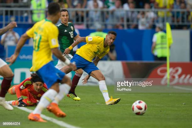 Guillermo Ochoa Roberto Firmino Andres Guardado Neymar during the 2018 FIFA World Cup Russia Round of 16 match between 1st Group E and 2nd Group F at...