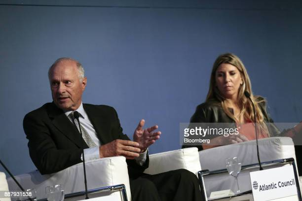 Guillermo Ortiz de Rozas director of Grupo Arcor SA left speaks while Lorena Zicker general manager of Intel Corp Argentina listens during an...