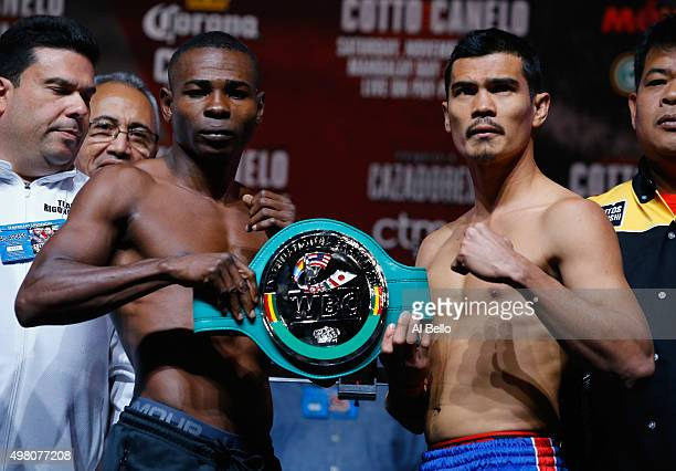 Guillermo Rigondeaux and Drian Francisco pose at the their Super Bantamweight weigh in for their 10 round bout on November 21 in Las Vegas