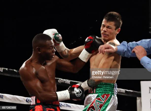 Guillermo Rigondeaux and Moises Flores battle it out during their super bantamweight championship bout at the Mandalay Bay Events Center on June 17...