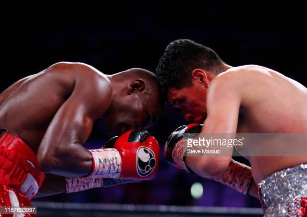 Guillermo Rigondeaux battles with Julio Ceja during a super bantamweight fight at the Mandalay Bay Events Center on June 23 2019 in Las Vegas Nevada...