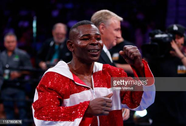Guillermo Rigondeaux celebrates after defeating Julio Ceja in a super bantamweight fight at the Mandalay Bay Events Center on June 23 2019 in Las...