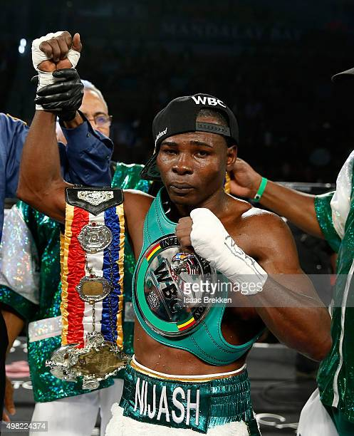 Guillermo Rigondeaux celebrates after his unanimous decision victory against Drian Francisco during their junior featherweight bout at the Mandalay...
