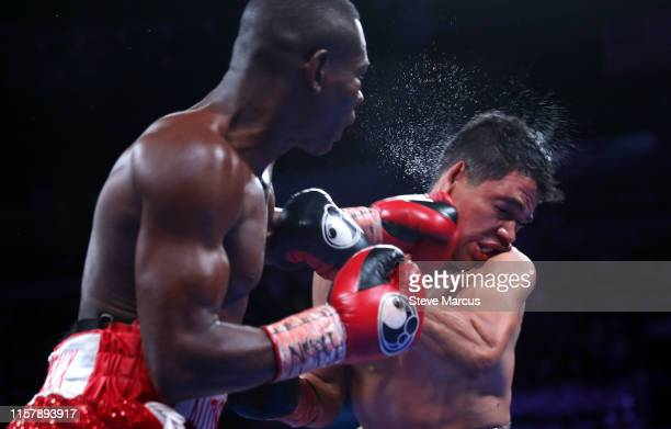 Guillermo Rigondeaux connects with a punch on Julio Ceja during a super bantamweight fight at the Mandalay Bay Events Center on June 23 2019 in Las...