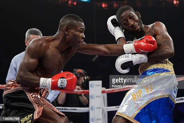 Guillermo Rigondeaux lands a left to the head of Teon Kennedy during their WBA super bantamweight title fight at MGM Grand Garden Arena on June 9...