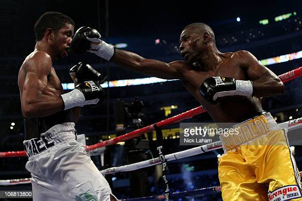 Guillermo Rigondeaux lands a punch against Ricardo Cordoba of Panama during their WBA Interim World Junior Featherweight Title bout at Cowboys...