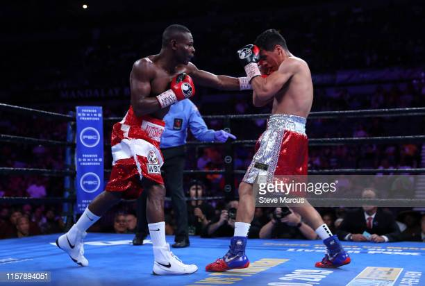 Guillermo Rigondeaux lands a punch on Julio Ceja during a super bantamweight fight at the Mandalay Bay Events Center on June 23 2019 in Las Vegas...