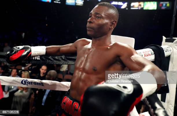 Guillermo Rigondeaux looks on after his super bantamweight championship bout against Moises Flores at the Mandalay Bay Events Center on June 17 2017...