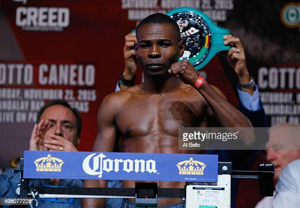 Guillermo Rigondeaux poses on the scale for his Super Bantamweight bout against Drian Francisco on November 21 in Las Vegas