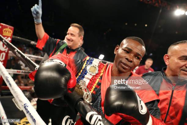 Guillermo Rigondeaux reacts after his super bantamweight championship bout against Moises Flores at the Mandalay Bay Events Center on June 17 2017 in...