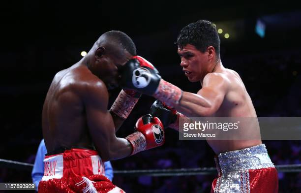 Guillermo Rigondeaux takes a punch from Julio Ceja during a super bantamweight fight at the Mandalay Bay Events Center on June 23 2019 in Las Vegas...