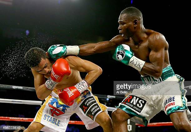 Guillermo Rigondeaux throws a right to the face of Drian Francisco during their junior featherweight bout at the Mandalay Bay Events Center on...