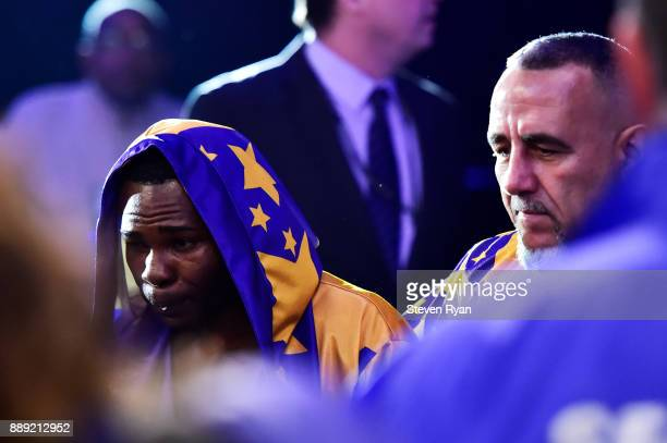 Guillermo Rigondeaux walks into the ring prior to his Junior Lightweight bout against Vasiliy Lomachenko at Madison Square Garden on December 9 2017...
