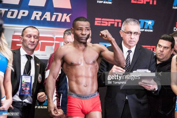 Guillermo Rigondeaux weighs in and poses in preparation for his Championship Super Featherweight bout against Vasyl Lomachenko at Madison Square...
