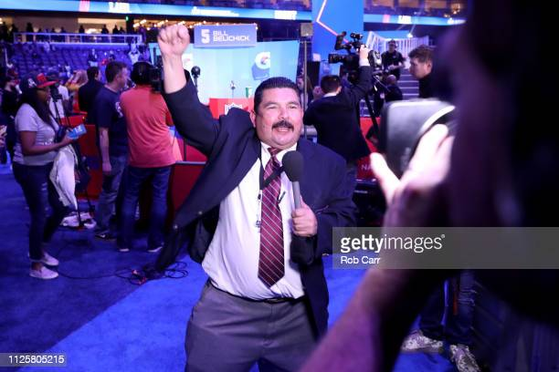 Guillermo Rodriguez from Jimmy Kimmel Live speaks on camera during Super Bowl LIII Opening Night at State Farm Arena on January 28 2019 in Atlanta...