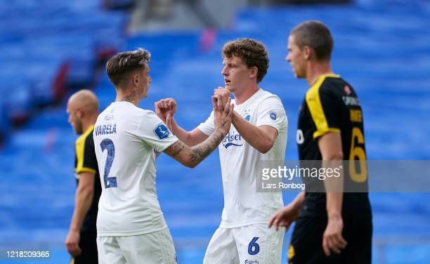 Guillermo Varela and Jens Stage of FC Copenhagen celebrate after scoring their second goal during the Danish 3F Superliga match between FC Copenhagen...