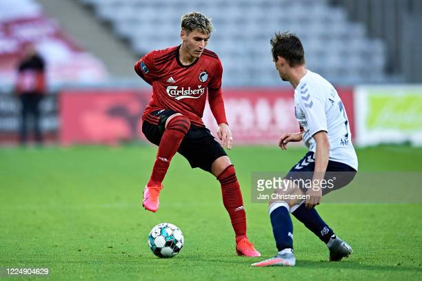 Guillermo Varela of FC Copenhagen and Jakob Ankersen of AGF Arhus compete for the ball during the Danish 3F Superliga match between AGF Arhus and FC...