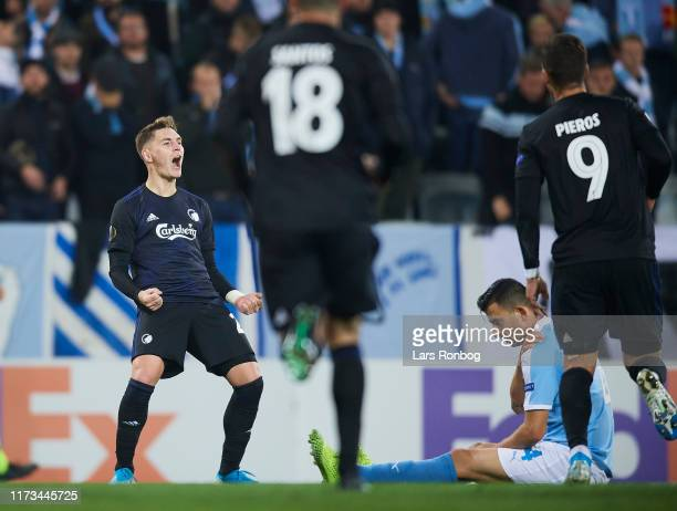Guillermo Varela of FC Copenhagen celebrates after scoring their first goal during the UEFA Europa League match between Malmo FF and FC Copenhagen at...