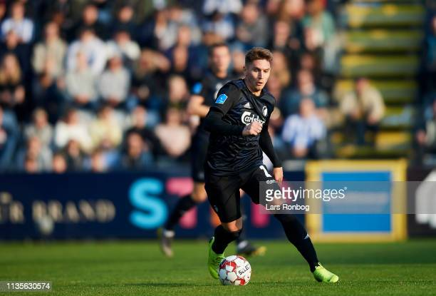Guillermo Varela of FC Copenhagen controls the ball during the Danish Superliga match between OB Odense and FC Copenhagen at Nature Energy Park on...