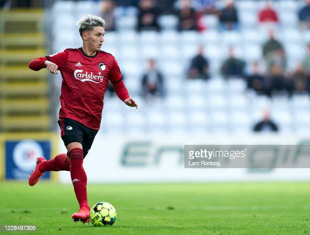 Guillermo Varela of FC Copenhagen controls the ball during the Danish 3F Superliga match between OB Odense and FC Copenhagen at Nature Energy Park on...