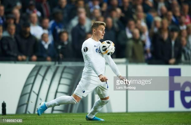 Guillermo Varela of FC Copenhagen controls the ball during the UEFA Europa League match between FC Copenhagen and FC Lugano at Telia Parken on...