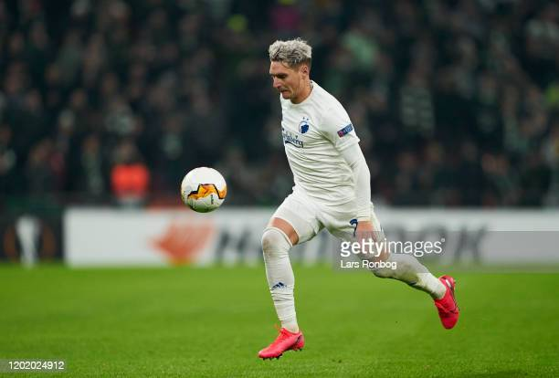 Guillermo Varela of FC Copenhagen controls the ball during the UEFA Europa League Round of 32 1st Leg match between FC Copenhagen and Celtic FC at...