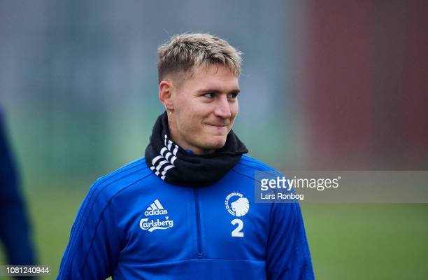 Guillermo Varela of FC Copenhagen smiling during the FC Copenhagen training session at KB's baner 10'eren on January 12 2019 in Copenhagen Denmark