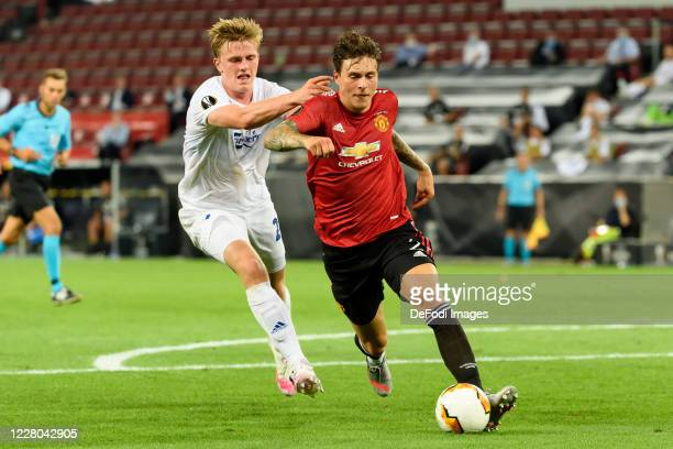 Guillermo Varela of FC Kopenhagen and Victor Lindeloef of Manchester United battle for the ball during the UEFA Europa League Quarter Final between...