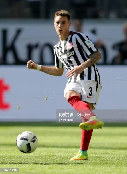 Guillermo Varela of Frankfurt controls the ball during the Bundesliga match between Eintracht Frankfurt and FC Schalke 04 at CommerzbankArena on...