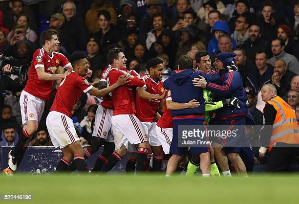 Guillermo Varela of Man Utd celebrates scoring in the last minute to win 32 during the U21 Barclays Premier League match between Tottenham Hotspur...