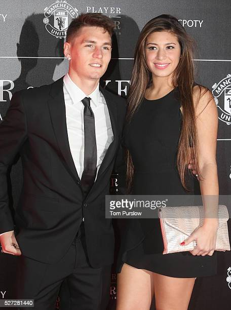 Guillermo Varela of Manchester United arrives with his partner at the club's annual Player of the Year awards at Old Trafford on May 2 2016 in...