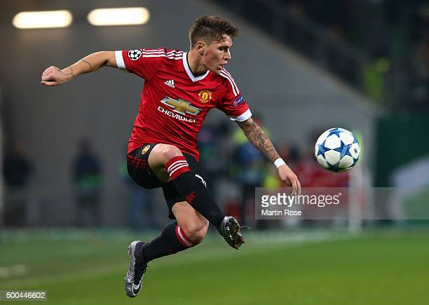 Guillermo Varela of Manchester United controls the ball during the UEFA Champions League group B match between VfL Wolfsburg and Manchester United at...