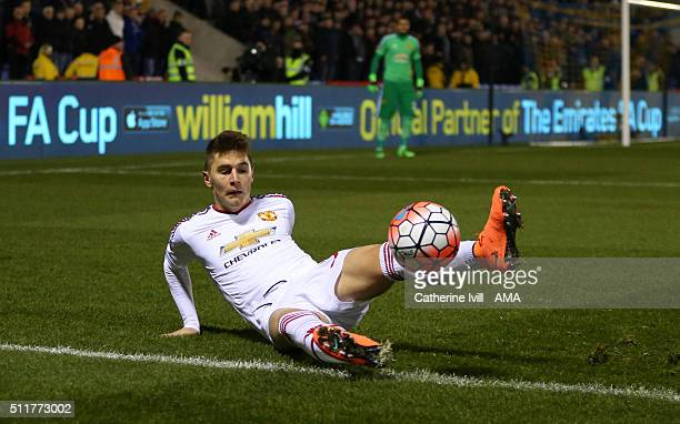 Guillermo Varela of Manchester United during the Emirates FA Cup match between Shrewsbury Town and Manchester United at New Meadow on February 22,...