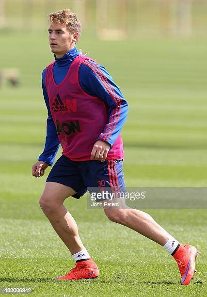 Guillermo Varela of Manchester United in action during a first team training session at Aon Training Complex on August 5 2015 in Manchester England